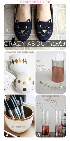 1. DIY Cat Face Loafers from Sweat Shirt Dress Shirt2. Dishwasher Safe Sharpie Mugsfrom A Bubbly Life3. Copper Can Storage Tin from Mormorsglamour4. Gold Painted Bowlfrom Hello Home Shoppe5. Wire Twisted Swizzle Sticksby the Flair Exchange(I thought they were bubble blowers and was slightly disappointed haha. What kind of bubbles would they be? I'm just …