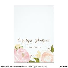 Romantic Watercolor Flowers Wedding Place Card
