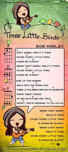 Three Little Birds -- Bob Marley ukulele tabsYou can find Little birds and more on our website.Three Little Birds -- Bob Marley ukulele tabs Pentatonix, Kala Ukulele, Cool Ukulele, Ukulele Chords Songs, Guitar Songs, Ukulele Tuning, Ukulele Strings, Tenor Ukulele, Ukelele Soprano