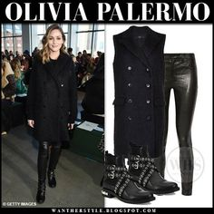 Olivia Palermo in black wool sleeveless coat, leather pants and black studded biker boots at Self Portrait fashion show NYFW Green Fur Coat, Black Fur Coat, Black Leather Pants, Biker Boots Outfit, Olivia Palermo Outfit, Sleeveless Coat, Red Skinny Jeans, Leather Midi Skirt, Winter