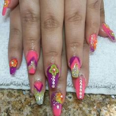 Pink purple yellow coffin nails bright summer nail designs