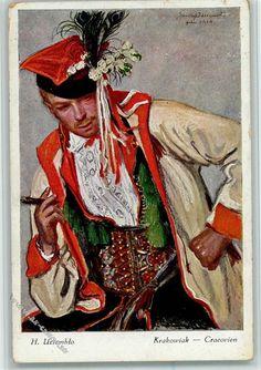 1914 Künstlerkarte Trachten Osteuropa Krakowiak AK Galerja Polska Nr. 294 AK