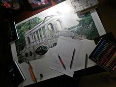 A1 format watercolor pencils , black gel pen , graphite pencils, duration of 4 to 5 months .
