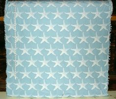 Starfish fabric blue star fish reversible upholstery from Brick House Fabric: Novelty Fabric