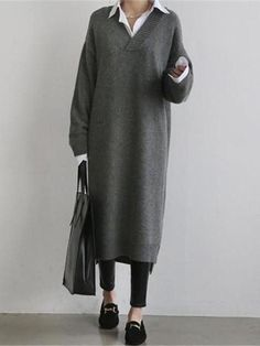 Fashion Simple Loose Long Sleeves Knitted Sweater Shown Thin Maxi Dres – lovejewelryacc pretty dress dress and skirt outfits maxi maxi outfits Knit Sweater Dress, Loose Sweater, Long Sweater Outfits, Long Sleeve Sweater Dress, Look Fashion, Korean Fashion, Fashion Women, Cheap Fashion, Party Fashion