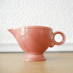 Fiesta Ware Rose Ring Handle Creamer Early by nellsvintagehouse