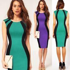 Pinup Women New Round Collar Optical Illusion Slim Career Party Sheath Dress
