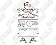 Vintage Santa Face Santa Sack Cut File in SVG, EPS, DXF, JPEG, and PNG Format for Cricut, Silhouette, and Brother ScanNCut Cutting Machines