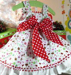 christmas dresses for toddler girls   Girls Christmas Dress Custom Girls Baby 6 months - 18 months