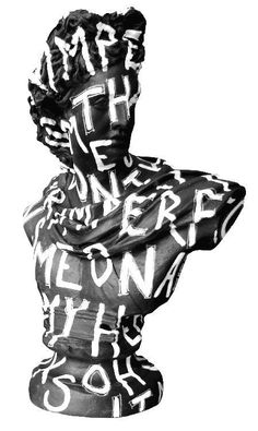 Black & White Imperfection Bust by Jimmiemartin Roman Sculpture, Sculpture Art, Sculptures, Modern Art, Contemporary Art, Collage Art, Art Inspo, Line Art, Illustration