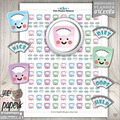 Scale Stickers, Planner Stickers, Weight Loss, Erin Condren, Kawaii Stickers, Diet Stickers, Planner Accessories, Fitness, Health
