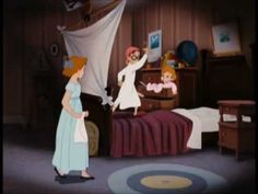 The Nursery is a major location in Peter Pan. It is where Wendy, John, and Michael Darling sleep and play, equivalent to a kids' bedroom and playroom in modern times. Disney Wiki, Disney Movies, Disney Pixar, Disney Art, Disney Characters, Peter Pan Original Movie, Picture Movie, I Movie, Disney Peter Pan