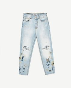 HIGH RISE JEANS WITH EMBROIDERIES