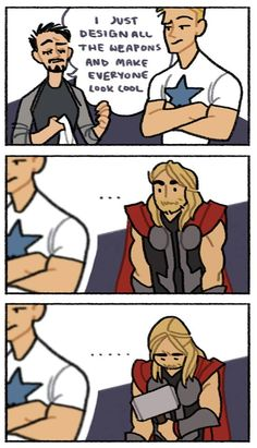 It's okay Thor Tony just thought that your weapon was so cool that no improvement was needed Funny Marvel Memes, Dc Memes, Marvel Jokes, Avengers Memes, Funny Jokes, Marvel Dc Comics, Marvel Heroes, Marvel Avengers, Marvel Gems