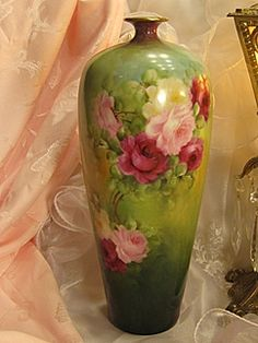 "Exquisite Antique T Limoges France Vase 14 1/4"" Tall Hand Painted Roses Vintage Victorian China Painting of  PINK ROSES Handpainted Floral Art Fine French Porcelain Masterpiece Tressemann and Vogt, circa 1900"