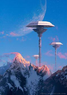 Sylvain Sarrailh (freelance concept artist) - tower mountain - Titania, the largest of the moons of Uranus. Futuristic City, Futuristic Architecture, Fantasy Places, Sci Fi Fantasy, Ville Cyberpunk, Cyberpunk City, Sci Fi Kunst, Science Fiction Kunst, Arte Sci Fi