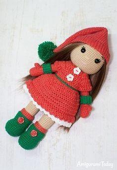 Christmas Ellie Doll - Free crochet pattern by Amigurumi Today