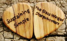Custom Order: Set of 2 Wooden Guitar Picks  Customize your own Wooden Guitar Pick at Pickslay's Woodworking and choose from a variety of High Quality Domestic and Exotic woods.  Check it out at Pickslay's Woodworking on Etsy.com (CLICK THE LINK BELOW)  https://www.etsy.com/listing/100384851/one-custom-engraved-wooden-guitar-pick?ref=shop_home_feat