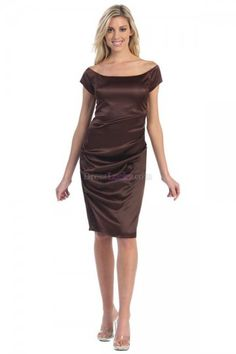 Chocolate Sheath/Column Off The Shoulder Natural Short Sleeve Elastic silk-like satin Homecoming Dresses HD1632