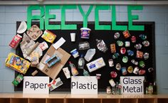 """""""Recycle"""" Bulletin Board Thank you Timm for your help with the idea for this one! Recycle Bulletin Board Thank you Timm for your help with the idea for this one! Elementary Bulletin Boards, Preschool Bulletin Boards, Summer Activities For Kids, Science Activities, Science Ideas, Reggio Emilia, Recycling For Kids, Recycled Art Projects, Green School"""