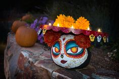 Painting Pumpkins - The Book of Life Painting Pumpkins - The Book of Life Sugar Skull Pumpkin, Pumpkin Art, Pumpkin Crafts, Pumpkin Painting, Pumpkin Ideas, Pumpkin Carving, Halloween Gourds, Holidays Halloween, Halloween Crafts
