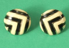 Piscatelli Black & White Enamel Adjustable Gold Colored Metal Clip On Earrings #Piscatelli #ClipOn