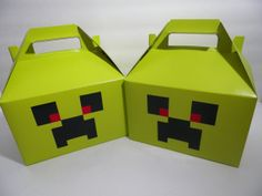 12 Minecraft Birthday Party Creeper Treat Sack Goody Candy Boxes with Handles Minecraft Birthday Party, Birthday Ideas, Minecraft Posters, Candy Boxes, Craft Box, Creepers, Goodies, Birthdays, Holidays