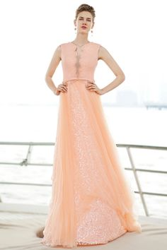 Dressesmall V Neck Sleeveless Tulle Floor Length Orange Evening Dress