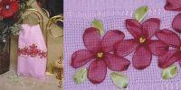 Toalha de Lavabo Rosa (Bordado em fita)