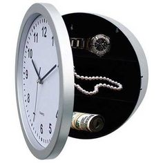 Round White Wall Clock Front Door and Storage Shelf Inside to Hide Jewels Money