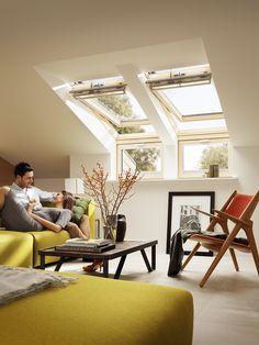 Gemütliches Wohnen Mit VELUX Gemütliches Wohnen, Wohnzimmer Ideen,  Dachfenster, Dachgeschoss, Landhaus,