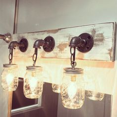 Handmade, unique in any way, white washed 3 mason jar light fixture by Lulight Shop
