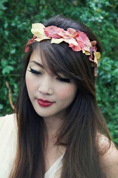 Leaves Crown - Fall leaves, Autumn, Halloween, Thanksgiving, Inspired, headband, head piece, weath, ring, bridal, wedding headband, Boho