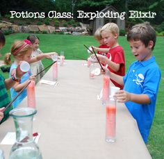 Potions Class: Exploding Elixer  http://sweetpparties.blogspot.com/2011/08/harry-potter-party.html