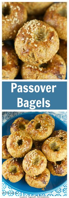 Passover Bagels - Super easy to make and delicious. These Passover rolls are sweet and savory with a sesame topping. Serve them warm on your Pesaj Seder. More Passover recipes at livingsweemoments.com via @Livingsmoments