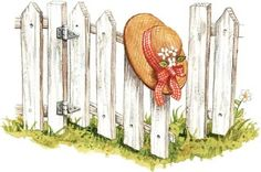 Gooseberry Patch artwork...white picket fence and pretty straw hat.