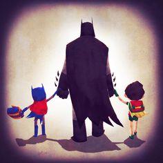 Justice Families, Batman/Bruce Wayne | Follow here http://pinterest.com/cakespinyoface/geekery/ for even more Geekery-- art, tech and more!