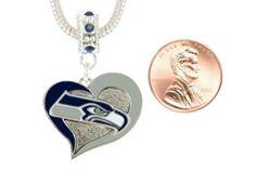 Final Touch Gifts Seattle Seahawks Swirl Heart Charm Fits European Style Large Hole Bead Bracelets