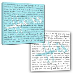 He & She Canvas - Use your vows or things you love about each other. Makes a great gift!