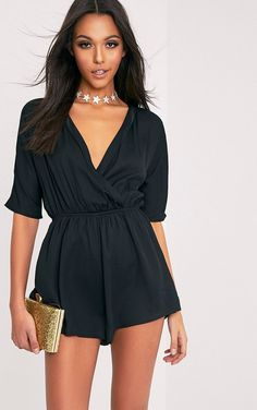 The Bobby Black Wrap Front Playsuit. Head online and shop this season's range of jumpsuits_playsuits at PrettyLittleThing. Express delivery available. Malibu Outfit, Classy Outfits, Cute Outfits, Estilo Hippie, Playsuit Romper, Cute Rompers, Playsuits, Jumpsuits, Fashion Lookbook