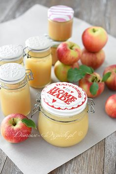 Mus jabłkowy Jam Recipes, Vegan Recipes, Types Of Desserts, Polish Recipes, Cantaloupe, Panna Cotta, Dips, Fruit, Vegetables