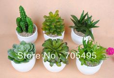 Free Shipping 6pcs/set with Plastic Pot Artificial Office Plant Fake Potted Plant for Home Decoration-in Decorative Flowers & Wreaths from Home & Garden on Aliexpress.com