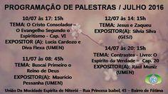 Programação de Palestras do mês de Julho de 2016 da UMEN - Niterói - RJ - http://www.agendaespiritabrasil.com.br/2016/07/11/programacao-de-palestras-do-mes-de-julho-de-2016-da-umen-niteroi-rj/