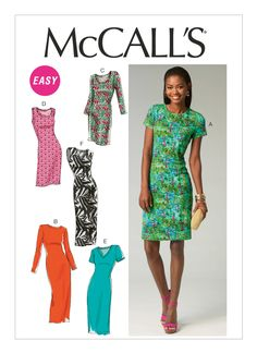 M6886 | McCall's Patterns - Knit pullover dress in four lengths, with sleeve & neckline variations