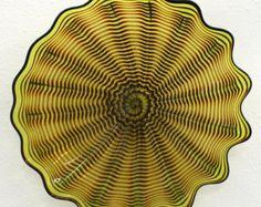 Beautiful Hand Blown Glass Art Platter Bowl 3839 ONEIL