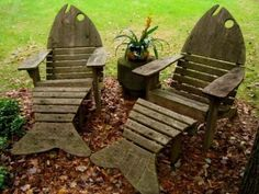 Whimsical Fish Wooden Garden Chairs Loungers