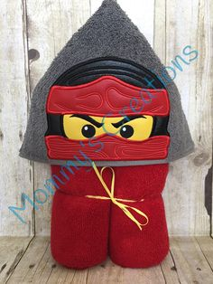 "Toy Ninja Applique Hooded Bath, Beach Towel, Cover Up 30"" x 54"" by MommysCraftCreations on Etsy"