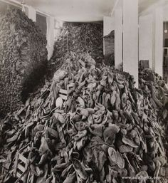 Nazis store room at death camp of shoes collected from those murdered or used as slave labor