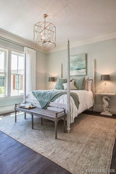 We love the soothing palette of this coastal bedroom. For inspiration or a consultation regarding custom wide plank floors, visit OakAndBroad.com