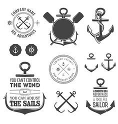 Set of nautical labels icons and design elements vector 1212688 - by ivanbaranov on VectorStock®